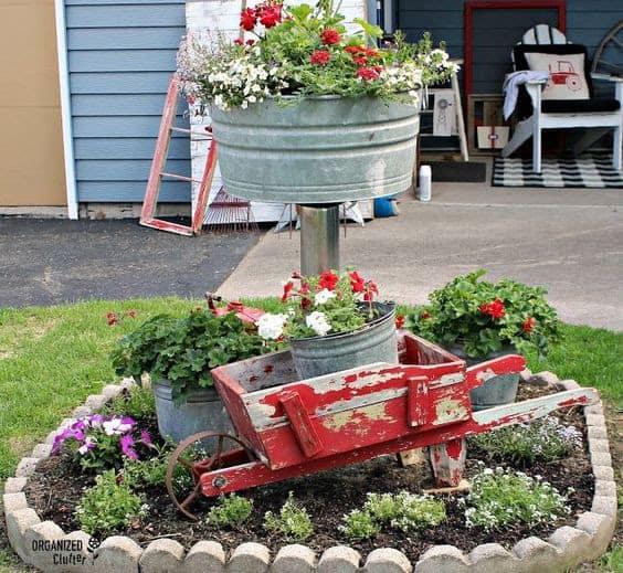 Recycled junk garden