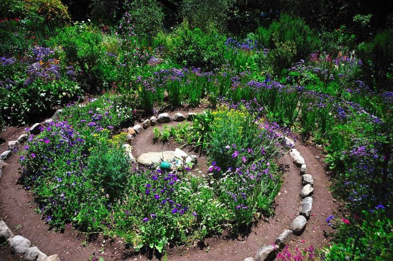 Spiral garden made from stones and flowers