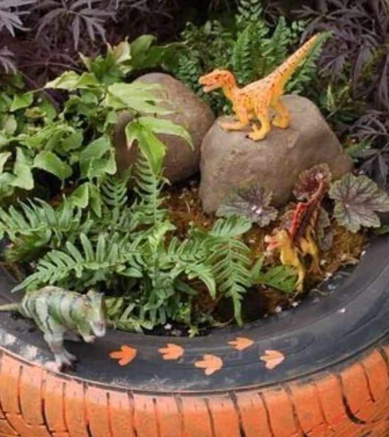 Prehistoric mini garden with mini dinosaurs
