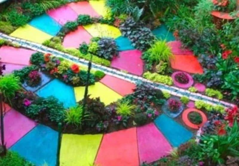 Colourful swirling garden path