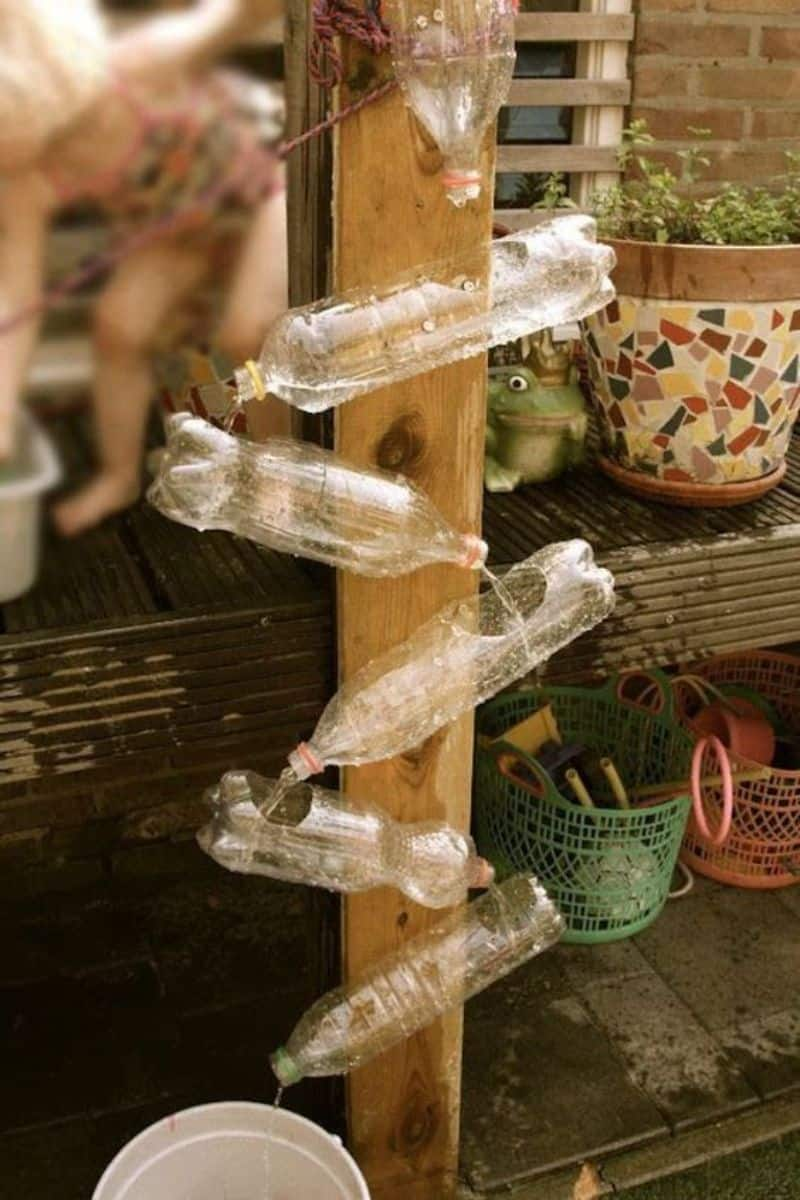 DIY water wall made from recycled plastic bottles