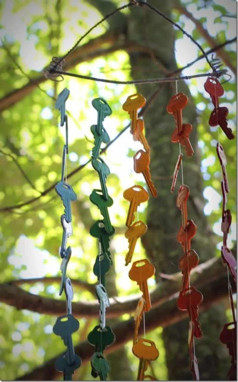 DIY rainbow-coloured wind chime made from old keys