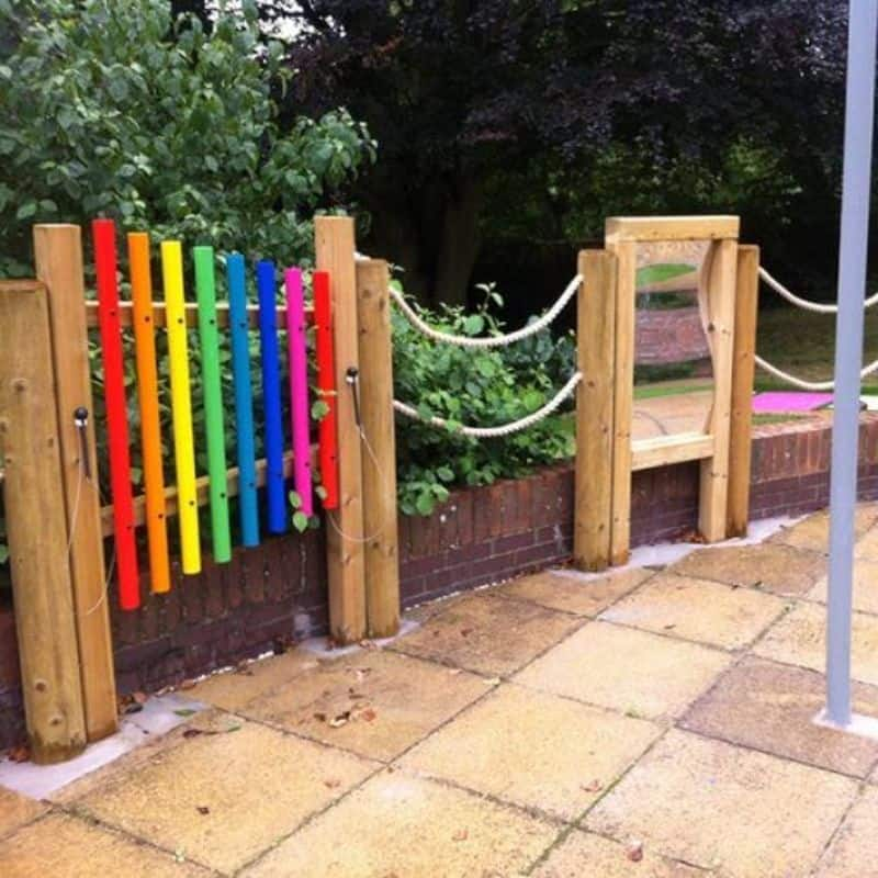 A giant, colourful outdoor xylophone