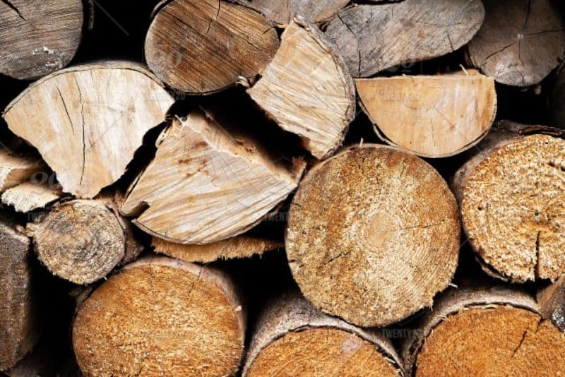 Piled up logs