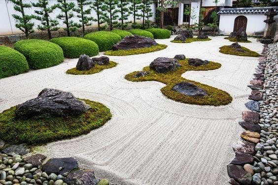 Grass islands with rocks