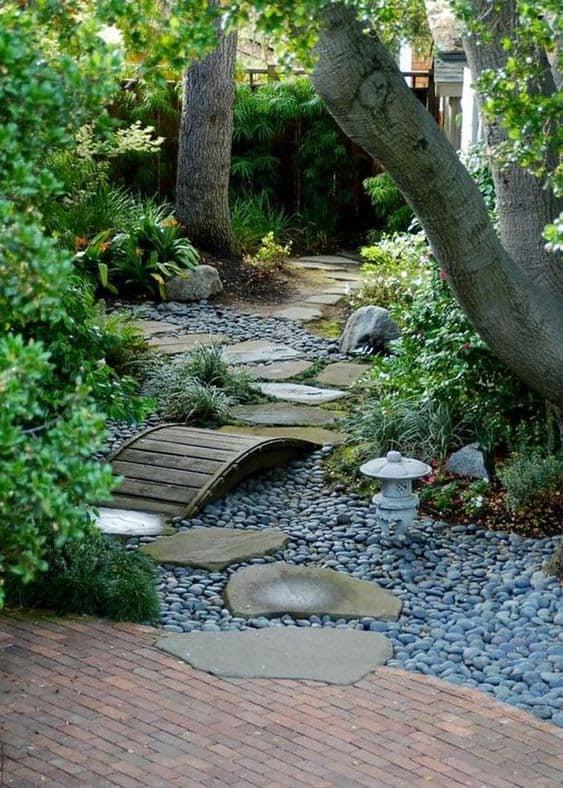 Pebbles filling a riverbed