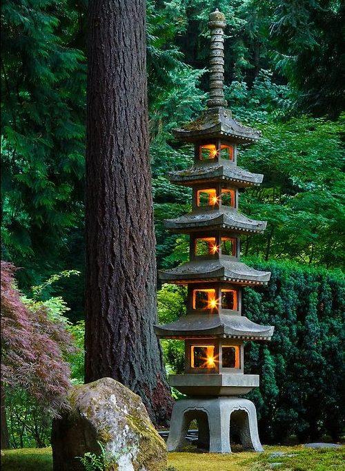 A Japanese pagoda lantern