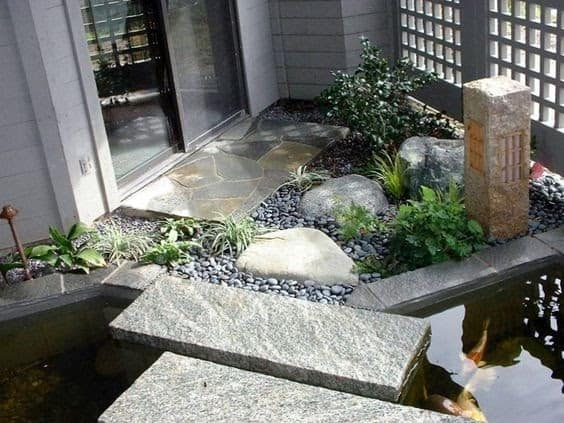 Zen entrance with pond