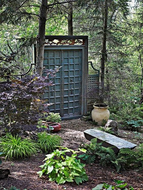 A serenity garden with a beautiful oriental door