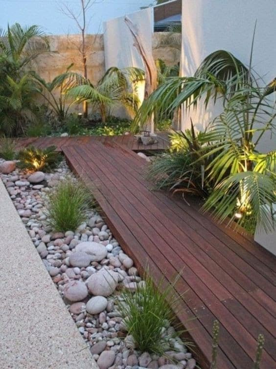 Wooden deck and pebbles