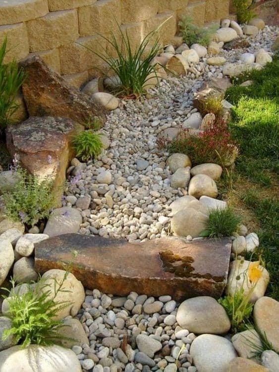 A dry creek of pebbles