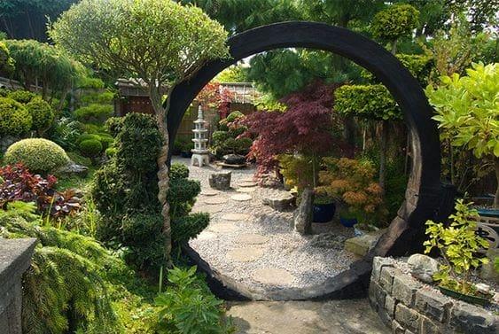 An opulent entrance in a zen garden