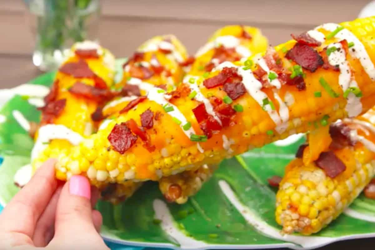 Grilled ranch corn topped with cheddar and bacon
