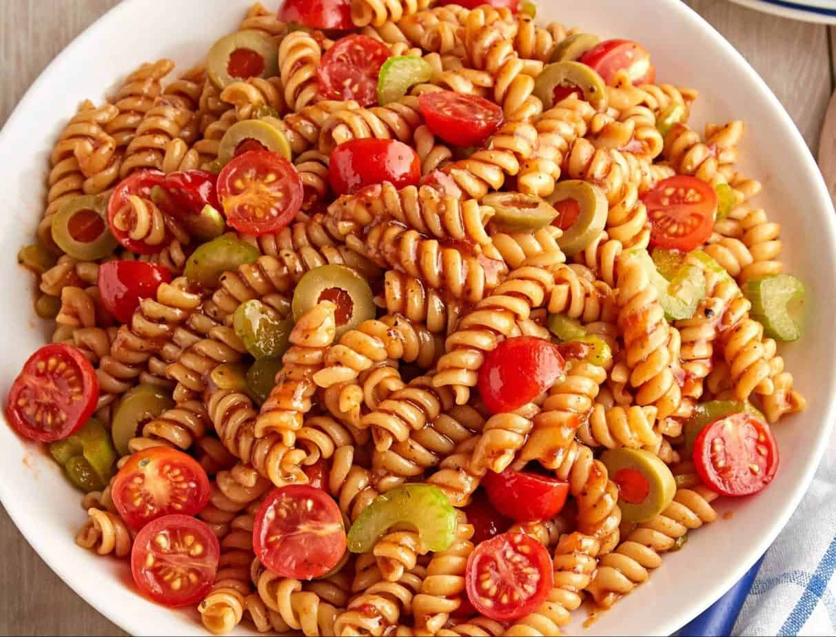 Bloody Mary pasta with lots of cherry tomatoes and fresh olives