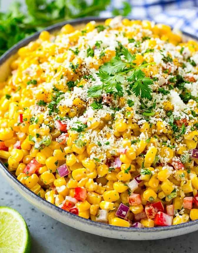 A large serving of Mexican corn salad