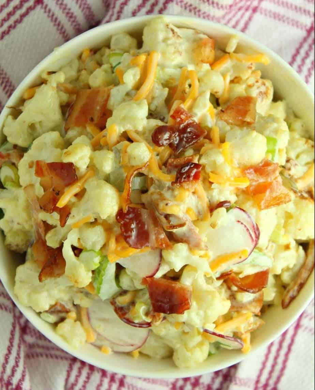 A bowl full of cauliflower salad