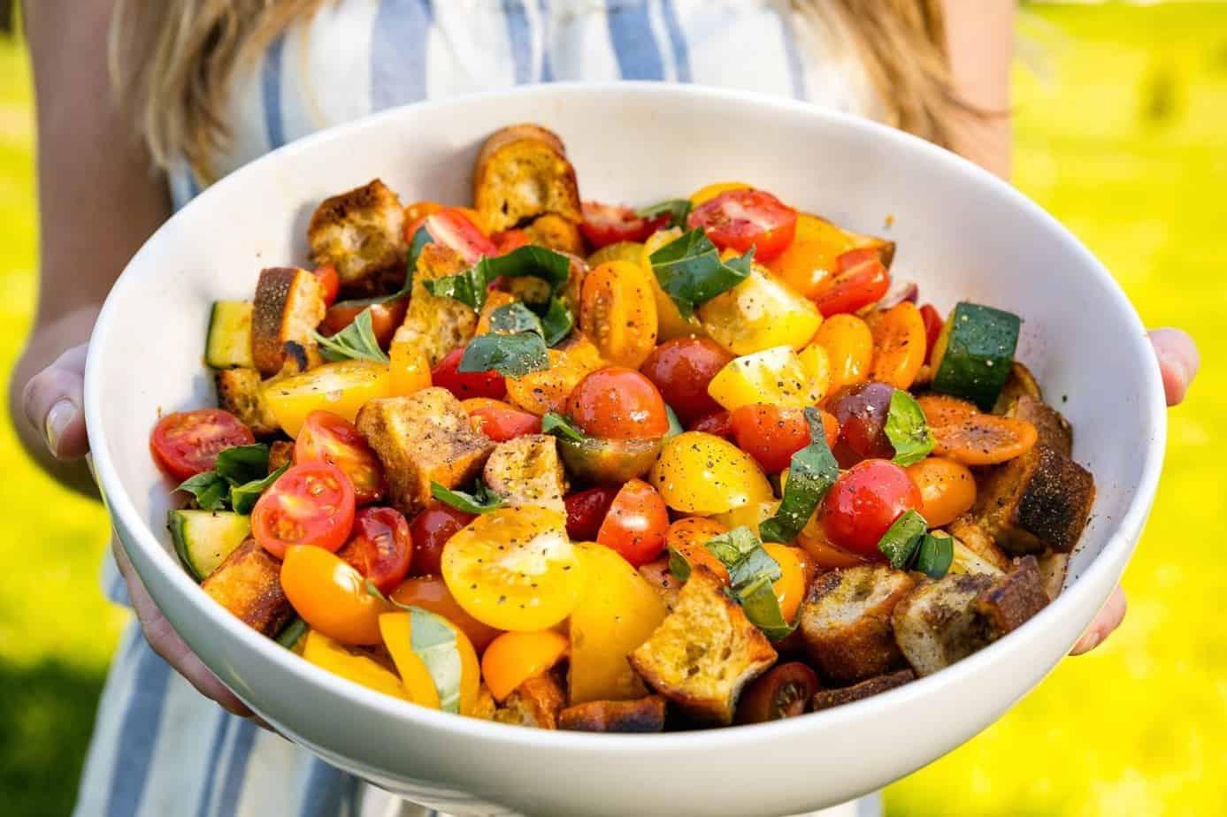Summer panzanella side dish BBQ salad