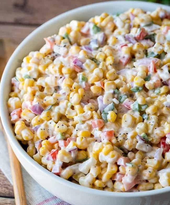 Creamy corn salad in a large bowl
