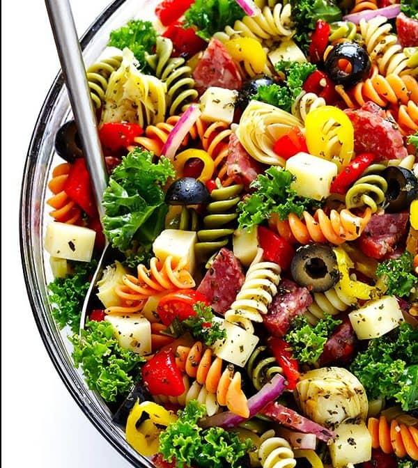 Rainbow antipasto salad bowl with olives
