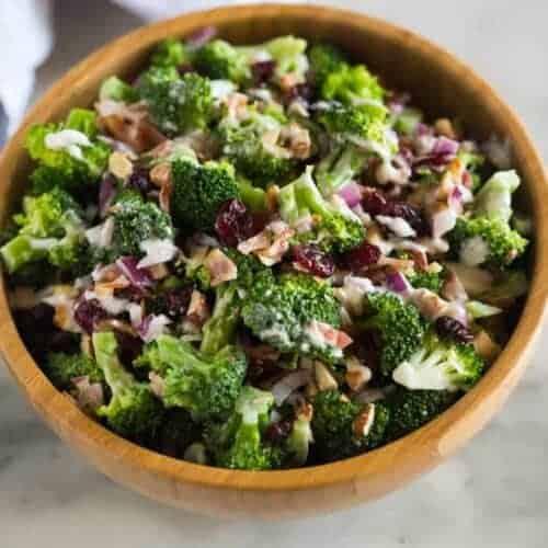 A small bowl of broccoli salad