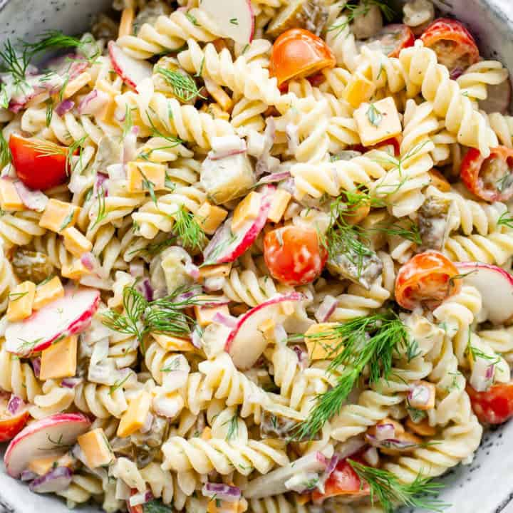 Healthy pickle pasta salad in a large dish