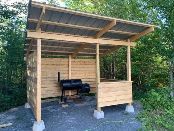 A DIY shack for a BBQ smoker