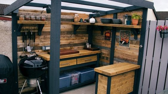 Outdoor mini kitchen with a transparent roof
