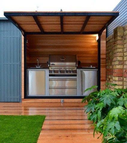 Built-in cedar corner BBQ shed