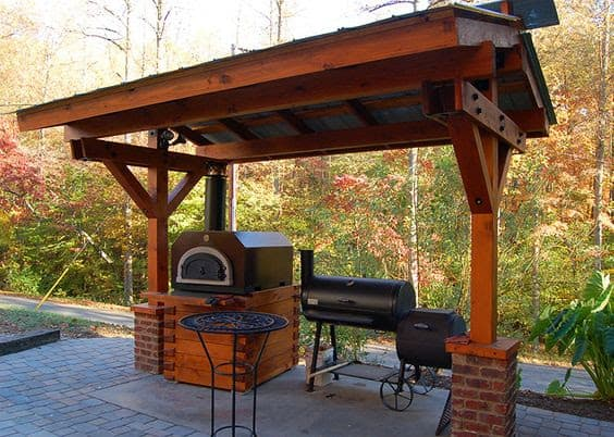 A solid structure with a more permanent feature to protect the BBQ from the weather