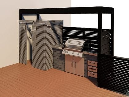 BBQ deck with black and white tones