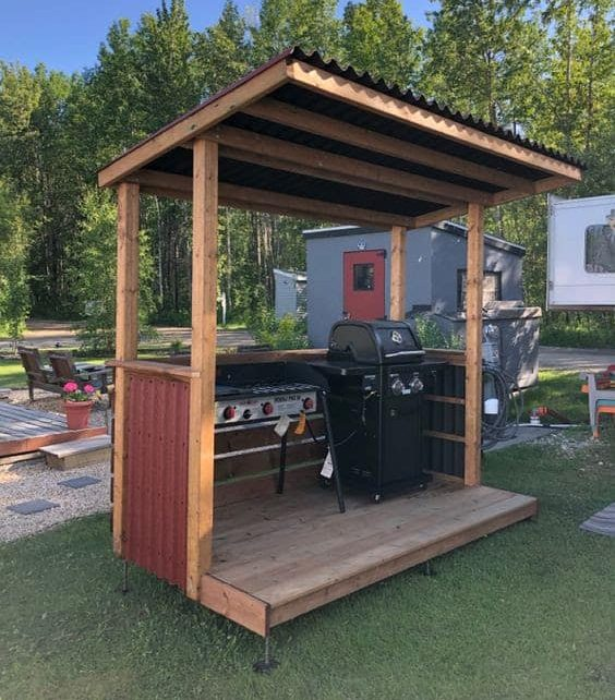 Small cooking wooden deck for BBQ get-togethers