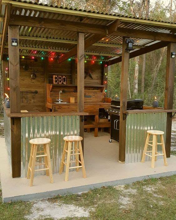 DIY huge BBQ shack with a bar area