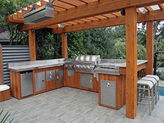 Huge BBQ area setup with brown and silver tones