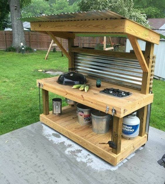 DIY small BBQ station with countertop