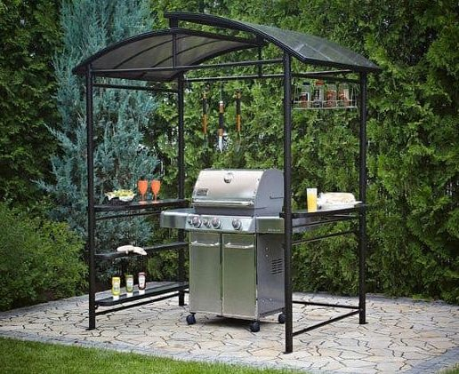 Metal BBQ shelter with shelvings