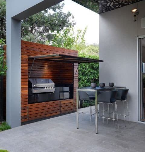 Modern BBQ shed station with a foldable door
