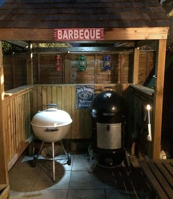 BBQ simple shack setup with a grill and smoker