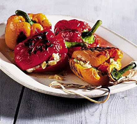 Salad stuffed blackened peppers