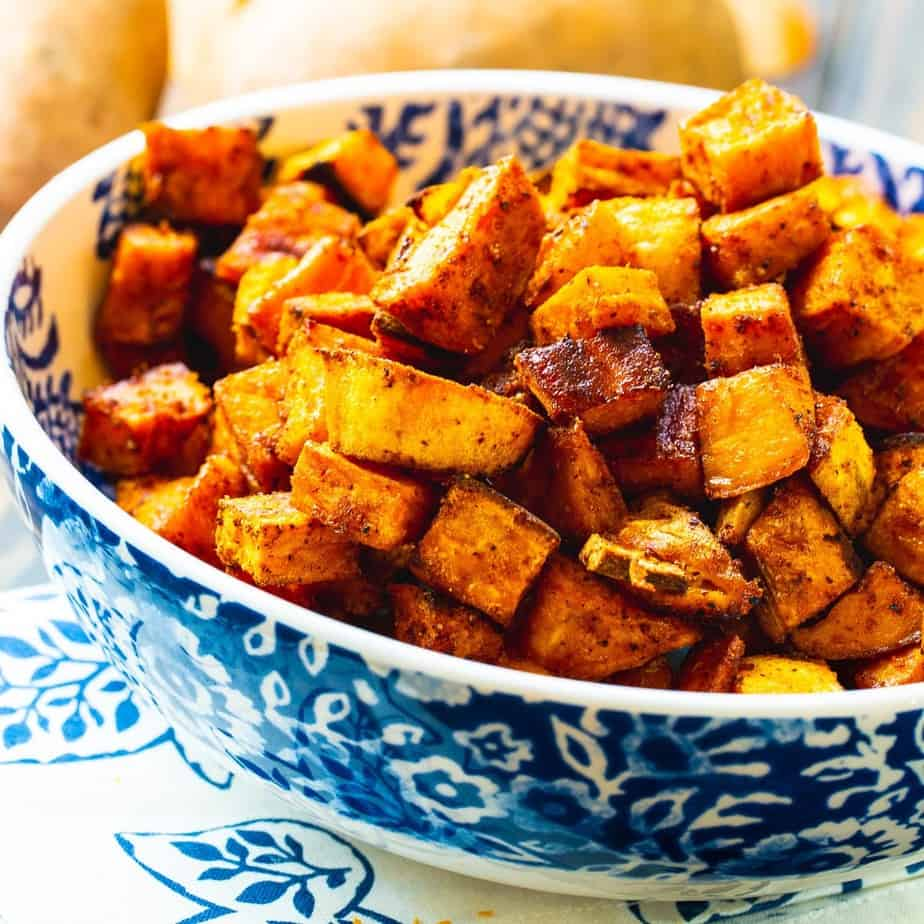 Hot and spicy sweet potatoes in a bowl