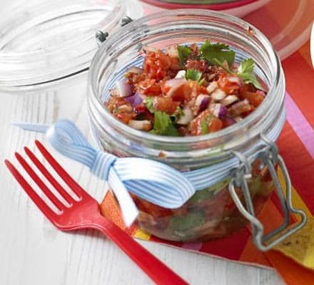 Smoky chipotle pepper salsa in a small jar