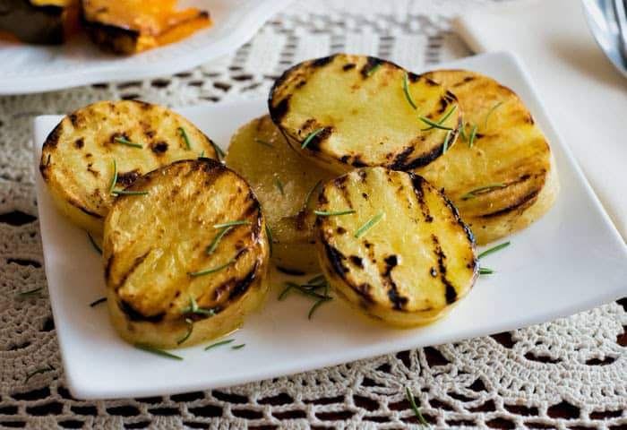 Grilled chunky potato slices