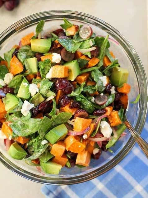 Sweet potato salad with avocado and other greens