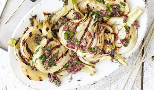 Barbecued fennel with black olive dressing