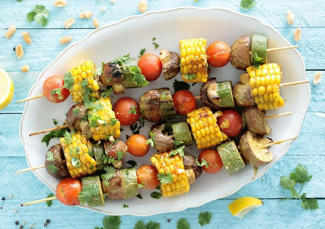 Peanut and coriander grilled skewers