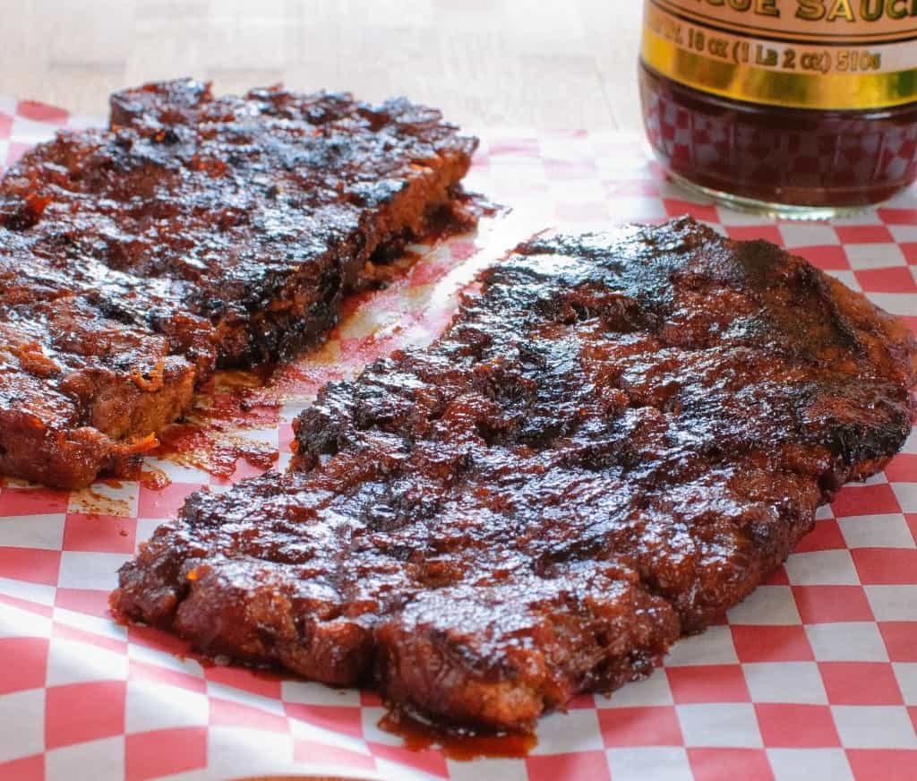 Grilled vegan BBQ ribs