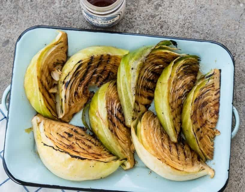 Marinated grilled cabbage
