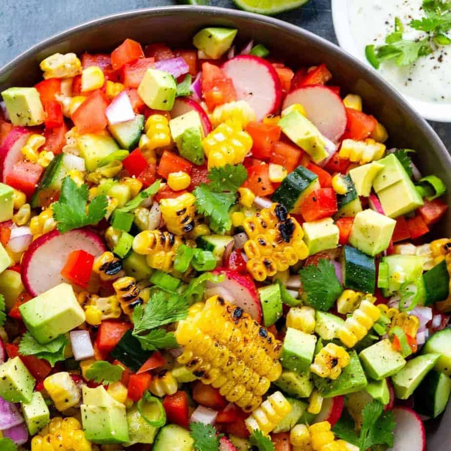 Grilled corn salad with mixed vegetables