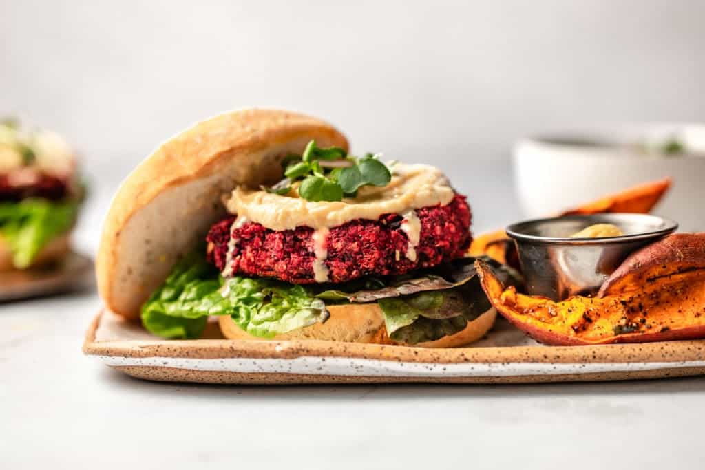 Beetroot burger full of flavour and plant-based protein