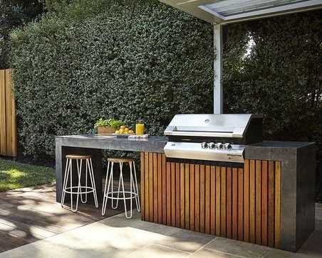 Simple BBQ and bar with one grill and two stools