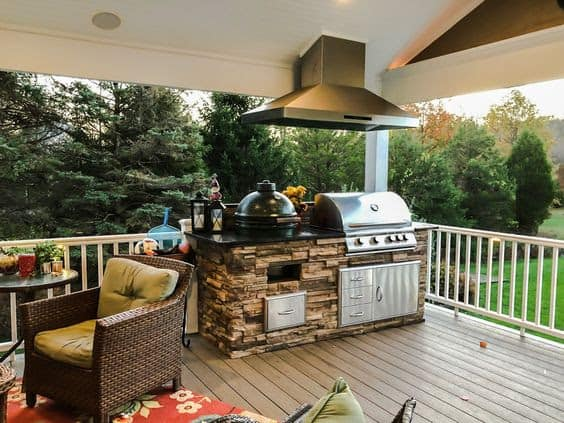 BBQ area on a wooden patio deck